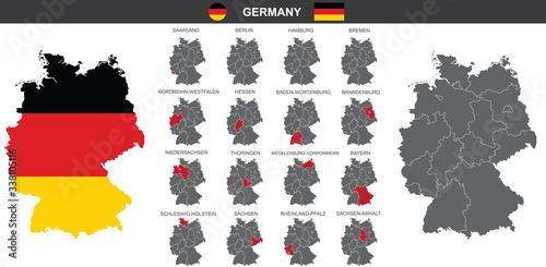 Obraz set of vector maps of Germany on white background  - fototapety do salonu