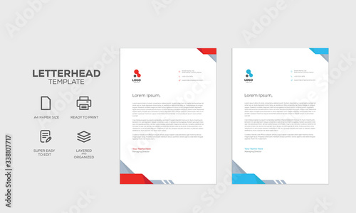 Fototapeta Corporate Letterhead Template For Business with Red and Blue Elements obraz