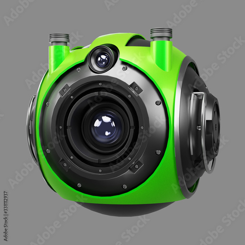 Fotografia, Obraz Green 3d robot droid hovering automated artificial intelligence machine