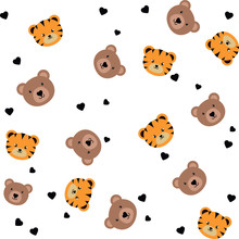 Cute, Bears, Tigers, Pattern, Vector, Background