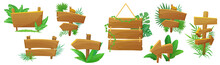 Jungle Style Exotic Wooden Arrow, Signpost, Pointer Cartoon Vector Illustration Set Isolated. Standing And Hanging Natural Wooden Boards With Tropical Plants, Green Leaves And Lianas.
