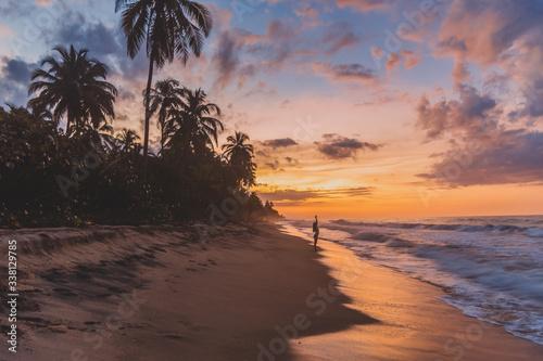 Fototapeta sunset on a tropical beach obraz na płótnie