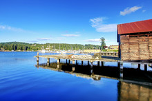 Gig Harbor Downtown With Water, Boats, Small Town, Buildings. State Washington, USA.