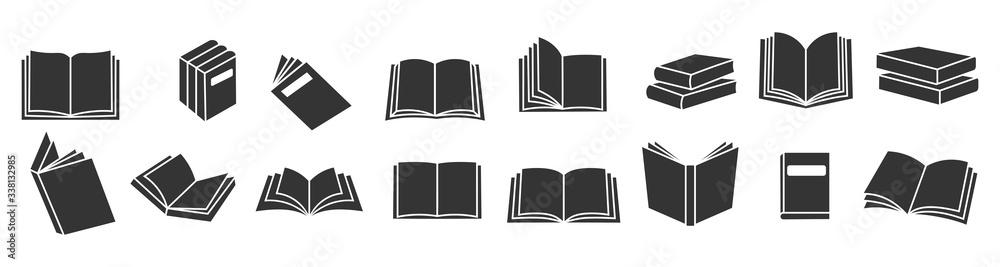 Fototapeta Book icons set, logo isolated on white background, vector illustration.