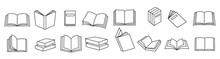 Book Icons Set In Thin Line St...