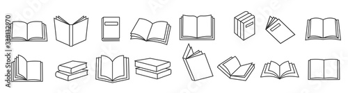 Stampa su Tela Book icons set in thin line style, isolated on white background, vector illustration