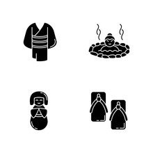 Japan Black Glyph Icons Set On...