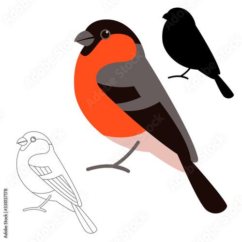 Fotografiet bird bullfinch , vector illustration, flat style,  black silhouette
