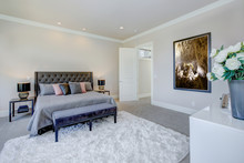 Master Bedroom Interior With King Size Bed. Luxury American Modern Home.
