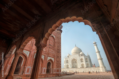 Photo View of the famous Taj Mahal in India