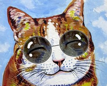 Art Painting Oil Color  Funny  Smiling Cute Cat