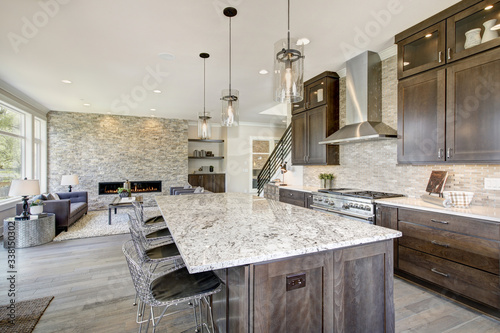 Fototapeta Luxury kitchen in a new construction home. Luxury American modern home. obraz