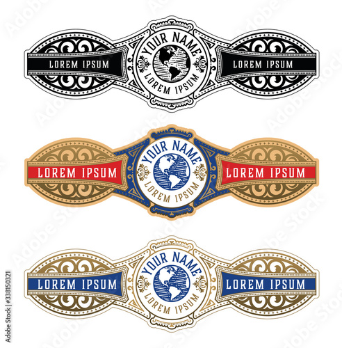 Valokuvatapetti Vintage Cigar Label Template. Vector with emboss and gold layers
