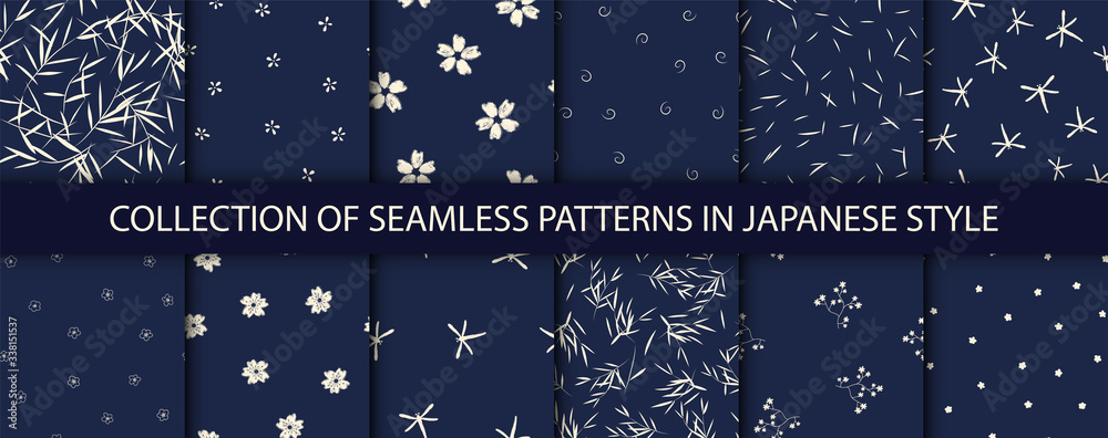 Fototapeta Set of 12 patterns in japanese style. Vector collection of asian backgrounds.
