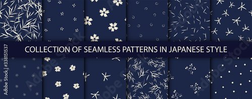 Set of 12 patterns in japanese style. Vector collection of asian backgrounds. - 338151537
