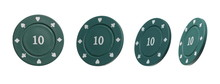Green Poker Chips Set And Collection, With Number Value Ten, Isolated On White Background With Clipping Path