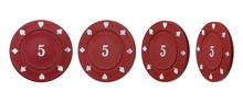 Red Poker Chips Set And Collection, With Number Value Five, Isolated On White Background With Clipping Path