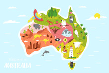 Illustrated Map Of Australia W...