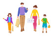 Coronavirus Covid 19, Family goes shopping isolation period. Grocery bags. Group young people, children medical face mask quarantine, protected from virus, stop pandemic. Vector illustration isolated