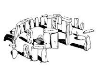 Graphical Stonehenge Isolated On White Background,vector, England