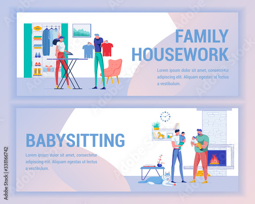 Family Housework and Father Babysitting Banner. Canvas Print