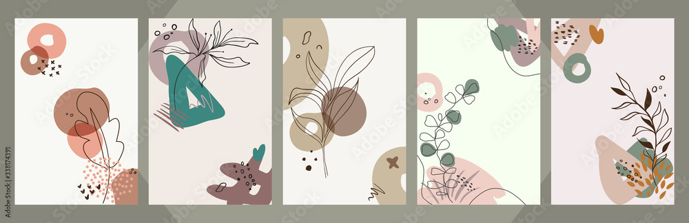 Fototapeta Abstract floral art vector cover background. Hand draw template