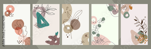 Obraz Abstract floral art vector cover background. Hand draw template - fototapety do salonu