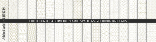 Fototapeta Collection of geometric seamless patterns. Abstract geometric hexagonal textures. Seamless vector monochrome backgrounds. obraz na płótnie
