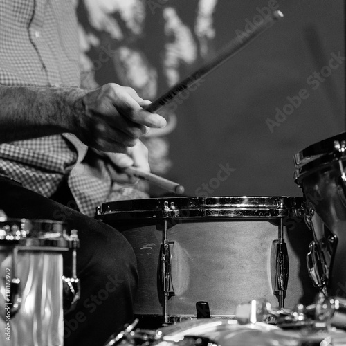 Man Playing Drums At Music Concert Fototapeta