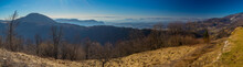 Panorama Of A View From Church On Sveti Primoz, A Well Known Hiking Spot In Karavanke Alps, Just Above Kamnik, Slovenia. Visible Ljubljana And Kamnik Basin In The Clouds.