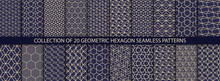 Collection Of Hexagonal Patterns. Vector Geometric Textures. Abstract Ornamental Backgrounds