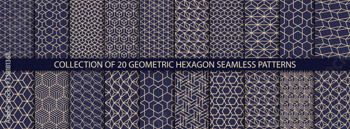Obraz Collection of hexagonal patterns. Vector geometric textures. Abstract ornamental backgrounds - fototapety do salonu