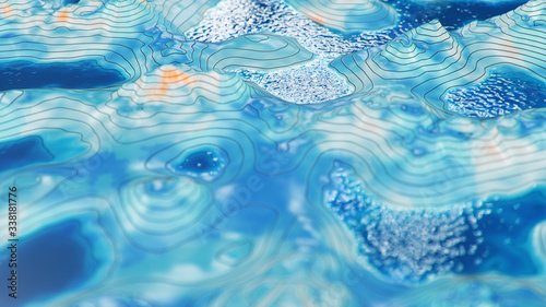 Photo Topographic 3D map with water