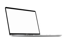Realistic Silver White Notebook With Blank Screen. 16 Inch Scalable Laptop Computer. Can Be Used For Project, Presentation. Blank Device Mock Up. Separate Groups And Layers. Easily Editable EPS Vector