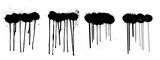 Fototapeta Młodzieżowe - Stencil graffiti spray isolated on white background with black splashes with flowing lines of paint. Street art collection, spray template. Vector illustration
