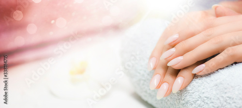 Cuadros en Lienzo Manicured nails and Soft hands skin wide banner