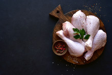 Raw Chicken Legs With Spices. ...