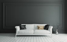 Sofa On White Wooden Floor And...