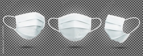 Realistic Set of medical masks - template Fototapet