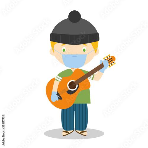 Fényképezés Cute cartoon vector illustration of a musician with surgical mask and latex glov