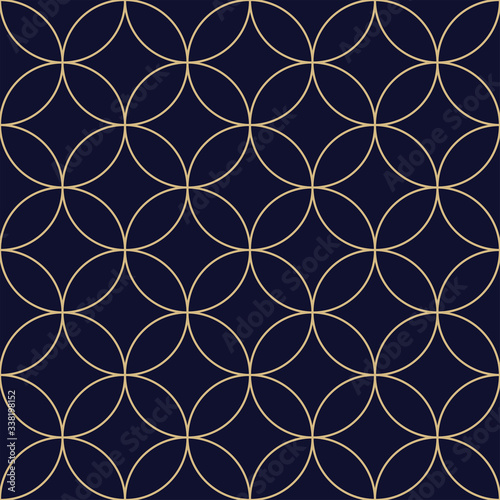 Fototapety, obrazy: Geometric abstract pattern. Seamless vector background. Dark blue and gold texture. Graphic modern pattern
