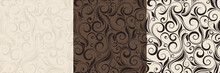 Vector Set Of Three Vintage Seamless Beige And Brown Floral Patterns.