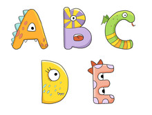 Cute Monster Dinosaur Children Alphabet Abc Isolated On White Background Letters A B C D E Green Orange Purple Yellow Pink