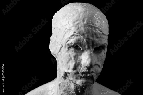 Obraz na plátně portrait of a shapeless distorted face on a black background