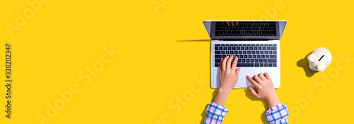 Fototapeta Person using a laptop computer with a piggy bank - flat lay obraz