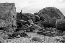 The Man Balance On Rock