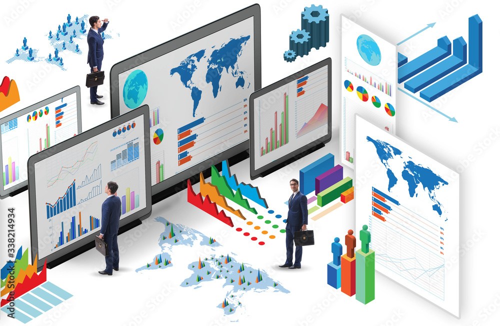 Fototapeta Businessman in business visualization and infographics concept