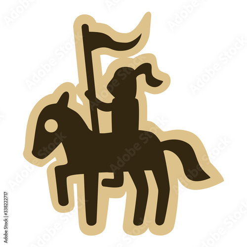 Canvas Print Vector drawing of a medieval mounted knight holding a flag