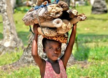 Portrait Of Girl Carrying Firewood On Head During Sunny Day