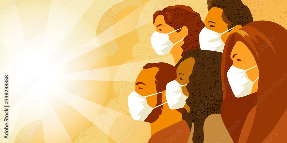Fototapeta Vector illustration of multinational group of people in medical mask look into the future with hope. Coronavirus COVID-19 pandemia concept.